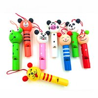 Wholesale baby rings for girls - Wholesale- Baby Kids Educational Wooden Toys Cartoon Animal Whistle Key chain Key Ring Wood Toy For Boys Girls Free Shipping