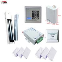 Wholesale Wooden Door Set - RFID Access Control System Kit Wooden Door Set+Eletric Magnetic Lock+ID Card Keytab+Power Supplier+Exit Button+DoorBell