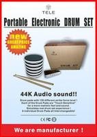 clase de audio usb al por mayor-Gadgets Set de batería electrónica portátil Instrumentos musicales Set de batería de percusión 44K Sonido de audio Six Drum Pads con modo de flash LED