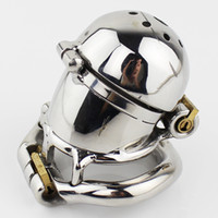 Wholesale Stainless Steel Chastity Double - NEW Double Lock Design Stainless Steel Chastity Belt Male Chastity Device Metal Penis Lock Chastity Cage Ring Sex Toys For Men