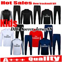 Wholesale Boys Black Jackets - Kids trainingsuit kits tracksuit jacket NEYMAR JR long sleeve soccer Jersey DI MARIA CAVANI VERRATTI LUCAS PASTORE MATUIDI football shirts.