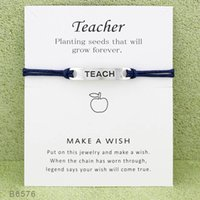 Wholesale Teachers Day Gifts - Silver Tone Sign Teacher Charm Bracelets & Bangles for Women Girls Adjustable Friendship Statement Jewelry With Card