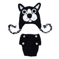 Wholesale Toddler Girl Crochet Hat Sets - Newborn Boston Terrier Costume,Handmade Crochet Baby Boy Girl Dog Animal Hat Diaper Cover Set,Inant Toddler Photo Prop Halloween Costume