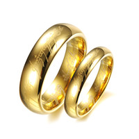 Wholesale 14k Gold Couple Rings - Plain Design Titanium Steel Rings Letter Engraving Luxury Couple Rings 14K Gold Plated Rings For Men & Women YDHR181