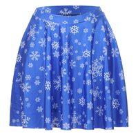 Wholesale Snowflake Skirts - NEW 1226 Summer Sexy Girl Blue Snowflake Christmas Printed Cheering Squad Tutu Skater Sport Women Mini Pleated Skirt Plus Size