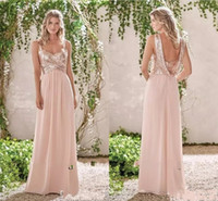 Wholesale Sequin Dress Wedding Guest - 2017 Rose Gold Bridesmaid Dresses A Line Spaghetti Backless Sequins Chiffon Cheap Long Beach Wedding Guest Dress Maid of Honor Gowns