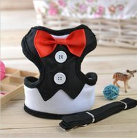 Dog Tuxedo Collar Pet Harness Leash Com Cute Bow Pequeno Dog Harness Vest Puppy Dog Supplies XS S M L