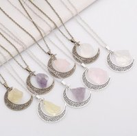 Wholesale Crystal Gem Necklace - Good A++ Selling natural stone moon necklace star moonlight gem crystal pendant WFN070 (with chain) mix order 20 pieces a lot