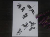 kelebek şablonlar toptan satış-Ucuz beyaz DIY böcek şablonlar Scrapbooking Için Maskeleme şablonu, kart yapımı, boyama, DIY kartları, duvar-kelebek 129