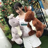 Wholesale Toys Kangaroos - Dorimytrader New 58cm Big Cute Soft Animal Kangaroo Plush Doll Pop Stuffed Cartoon Kangaroos Toy Pillow Lover and Child Present DY61597