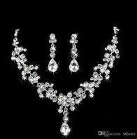 Wholesale Red Bridal Jewellery - Luxury Bridal Jewelry Set Rhinestone Crystal Jewelry Crystal Water Drop Earring Necklace Women Wedding Jewellery Bridal Accessories