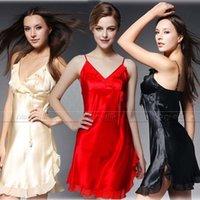 Wholesale Satin Babydoll Nightwear - Wholesale- Womens Silk Satin Nightdress Nightskirt Nightie Babydoll Lingerie Loungewear Nightwear S~3XL Plus S6,M8,M10,L12,L14,L16,L18