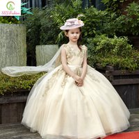 Wholesale Christmas Shawl For Girls - 2017 Fashion Children Party Gowns High-grade Luxury Light Gold Lace Embroidery Sleevelss with Shawl Long Flower Girls Dresses for Wedding