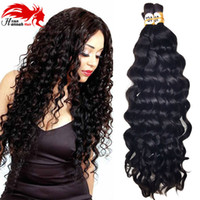 Wholesale Deep Wave Braid Hair - Hannah product Deep Wave Brazilian Human Hair for Braiding Bulk No Attachment, Natural 3pcs 150gram Bulk Hair Human Braiding Hair Bulk