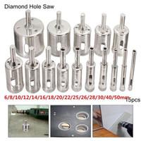 Wholesale Diamond Drill Bits Hole - 15pcs 6-50mm Diamond Hole Saw Drill Bit Set Tile Ceramic Glass Marble Drill Bits