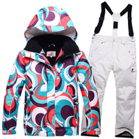 Wholesale Jacket Children Women - Wholesale- New Children skiing Clothing Girl or Boy ski suit sets skiing snowboard costume windproof therma ski outdoor jacket + bib pant