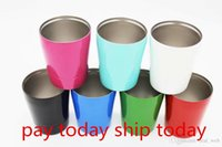 Wholesale Drinking Straws Kids - PAY TODAY,SHIP TODAY 9oz wine glasses Vacuum Insulated mug Stainless Steel Lowball Wine Tumbler with lid with straw 9oz kid mug cup
