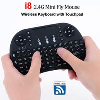 mini drahtloses gamepad großhandel-i8 2.4G Air Maus Wireless Mini Tastatur mit Touchpad Fernbedienung Gamepad für Media Player Android TV Box HTPC MXQ Pro M8S X96 Mini PC