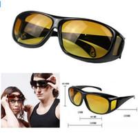 Wholesale Dark Sunglasses Driving - HD Night Vision Driving Sunglasses Men Yellow Lens Over Wrap Around Glasses Dark Driving UV400 Protective Goggles Anti Glare
