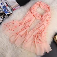 Wholesale 75cm Shawl - 195cm*75cm ultra long size silk feeling chiffon scarf embroidery