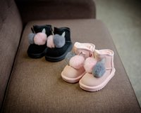 Wholesale Bunny Flats - Baby girls snow boots kids fake rabbit fur pompons ankle booties winter children stereo bunny ears genuine leather fleece warm booties R1128