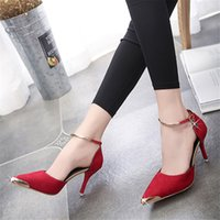 Wholesale Thin Metal Heel Sandals - Gamiss High Heels Ladies Pumps Suede Gold Metal Pointed Toe Sexy Thin Air Heels Footwear Woman's Red Sandals Party Wedding Shoes