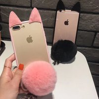 Wholesale Chinese Plastic Balls - Cute Clear Case Fur Furry Ball Rabbit Soft Silicone Case Transparent Cover For iPhone X 8 8Plus 7 6 6S Plus 5 5S SE