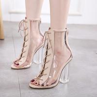 mulheres da forma das sandálias da forma venda por atacado-Moda Feminina Sandálias Sexy Peep Toe Transparente Lace Up Bloco Claro Chunky heels Ankle Bootie Sandálias