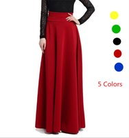 Wholesale 2017 Spring Women Maxi Long Skirts Yellow Green High Waist Pleat Elegant Rock Female Jupe Skirt Solid color Plus Size Flared Falda Gonna