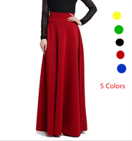 Wholesale High Waist Red Long Skirt - 2017 Spring Women Maxi Long Skirts Yellow Green High Waist Pleat Elegant Rock Female Jupe Skirt Solid color Plus Size Flared Falda Gonna