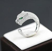 rhodium 925 ringe großhandel-Feiner Leopardenkopf Ringöffnung Dame verstellbarer Ring 925 Sterling Silber Ringe