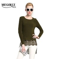 Wholesale Ladies Round Collar Blouses - Wholesale-New collection MIEGOFCE 2016 Autumn Women Sweater with Round Collar and Long Sleeve Knitted-Lace Women Top Autumn Ladies Blouses
