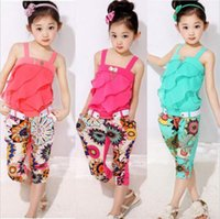 Wholesale Children Chiffon Cute Tops - Girl Clothing Fashion Girl Sleeve-less Floral Clothes Top+Pants 2 pcs Kids Chiffon Clothing Summer Child Outfits Sets