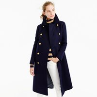 Wholesale Navy Coats Women - UK Manteau femme 2017 Autumn Winter Women Navy Notched Double breasted Woolen Long coat Classic Slim Overcoat abrigos mujer