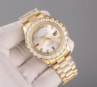 Wholesale Original Hours - Top AAA luxury automatic mens watch 18K gold Big Diamonds white Dial Diamond Hour Markers Sapphire original Stainless clasp mens watches