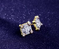 Stud square diamond earrings for men - hip hop Sterling Silver square earring Mosaic AAA CZ Diamond Simple For Men Woman