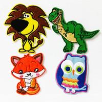 Wholesale Iron Applique Owls - Wholesales~12 Pieces mixed Pattern Cartoon Fox Lion Dinosaur Owl Velvet Embroidered Applique Iron On Patch Kids Patch (ALW)