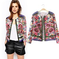 ingrosso donne blazer-Vintage donna Slim Top etnica stampa floreale punk giacca corta manica lunga giacca cappotto bomber outwear