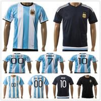 Wholesale Argentina Messi Jersey - Argentina Soccer Jersey 10 MESSI DI MARIA KUN AGUERO MARADONA HIGUAIN TEVEZ DYBALA LAVEZZI camisetas futbol camisa de futebol maillot