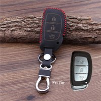 Wholesale Hyundai Key Fob Cover - Leather smart car Key Cover Fit For Hyundai IX25 I30 HB20 i30 ix35 Mistra Verna Solaris Sonata Santafe IX45 Fob Case