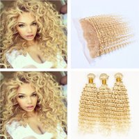 Wholesale Deep Wave Human Hair 4pcs - 9A 13x4 Ear to Ear Full Lace Frontal Closure With #613 Blonde Brazilian Deep Wave Curly Virgin Human Hair 3 Bundles 4Pcs Lot