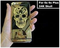 24ct gold gehäuse großhandel-Für iPhone 6s 6s Plus 24kt 24ct 24k Spiegel Gold Schädel Plated Gehäusedeckel Chassis mittleren Rahmen Ersatz Freies DHL