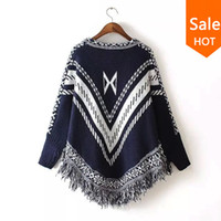 Wholesale Womens Poncho Capes - Wholesale-Women Autumn Winter Sweater Knitted Batwing Tassel Pullover Sweaters Tops Knitwears Womens Capes and Ponchos Womens Clothings