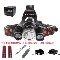 Wholesale 3T6 Outdoor Headlamp Lumens x Cree XM L T6 Head Lamp High Power LED Headlamp Head Torch Lamp Flashlight Head charger car charger