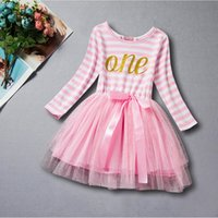 Wholesale Striped Tutu Dress Girls Pink - First Birthday Baby Clothes Pink Gold Letter Girls Tutu Dress Long Sleeve Striped Toddler Outfit Baby Girls Birthday Dress