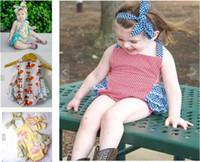 Wholesale Fox Onesie - babies boutique Clothing 2017 New Cartoon Girls lace baby romper Stripe fox Toddler bodysuit + Bow headbands Infant Onesie 7710