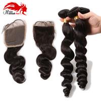 Wholesale malaysian loose wave silk base closure resale online - Hannah product Bundles Virgin Hair Peruvian Loose Wave With Silk Base Closure Hidden Knots g Piece Unprocessed Human Hair Weave