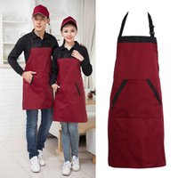 Black Red Unisex Chef Cooking Kitchen Catering Halterneck Apron Bib With 2 Pocket One Size em Medium Fashion Hot Sale