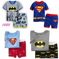 Wholesale Child Pyjamas - 2017 Summer Children cartoon pyjamas Clothing Sets boys girls short sleeve t-shirt+pants suit baby kids pajamas set
