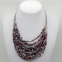Wholesale Wholesale Seed Bead Fashion Necklace - 2017 New Brand Bohemian Red Seed Bead Chokers Necklace Women Fashion Handmade Multi-layer Collar Necklace Choker Fine Jewelry DHL Shipping
